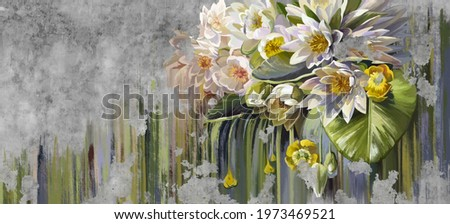 Water lilies, pitchers oil painted. Flowers painted on a concrete grunge wall. Stunningly beautiful, modern mural, wallpaper, photo wallpaper, cover, postcard design.
