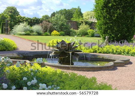 Water lilly fountain in the grounds of an English Stately Home gardens