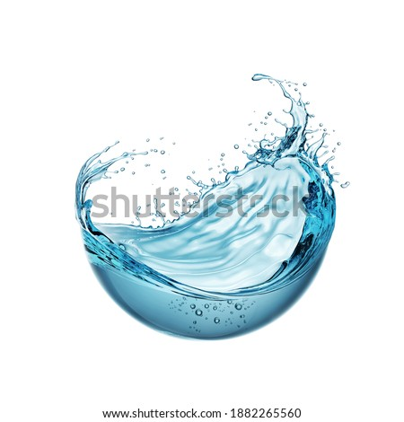 water liquid splash in sphere shape isolated on white background, 3d illustration.