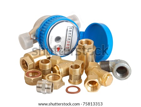 Water meter and inlet valve, isolated on white background