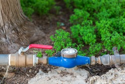 Water meter and water pipe, Measuring device to check counter number of water.