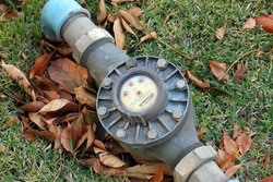 Water meter on the lawn