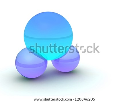 water molecule, colorful. H2o or Co2  3d illustration isolated on white
