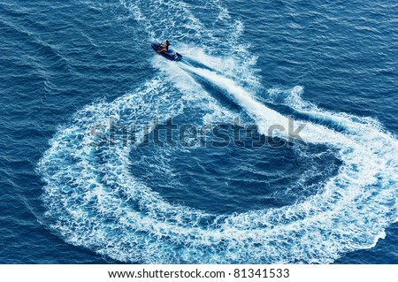 Water motorcycle in the sea and its trace