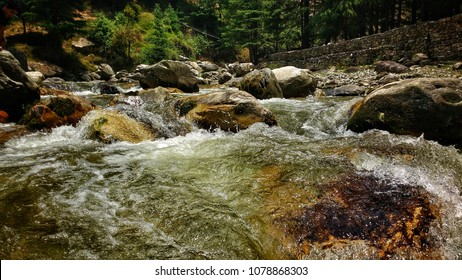Stock Photo - Water from the mountains and the Kasol valley, Manali, India.