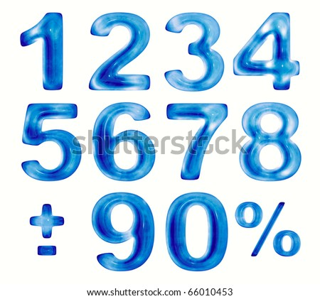 Water numbers set, 3d