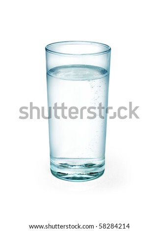 Water one glass on white background