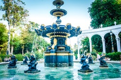 Water Outdoor fountains park. Garden fountains in romantic Baku city. Romantic cities background. Beautiful Romantic fountains Baku.Baku Landmark city fountain