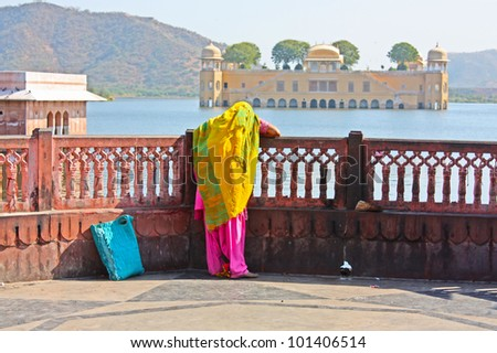 Water Palace (Jal Mahal) in Man Sagar Lake. Jaipur, Rajasthan, India. 18th Century. The palace Dzhal-Mahal.