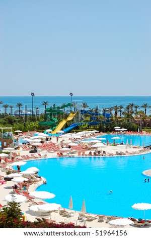 water park and swimming pool at popular hotel antalya. Black Bedroom Furniture Sets. Home Design Ideas