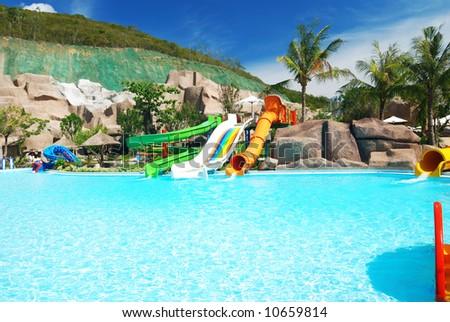 Water park in tropical resort