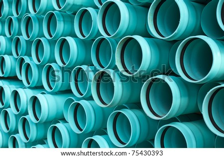 Water pipe stacked in a bundle.
