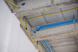 Water pipe systems, piping and electrical wiring in buildings under construction