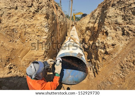 water pipes and worker on duty