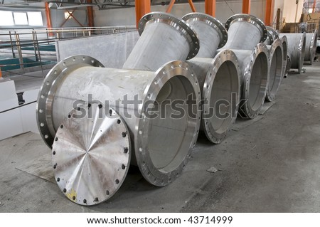 Water pipes flanges on a building site