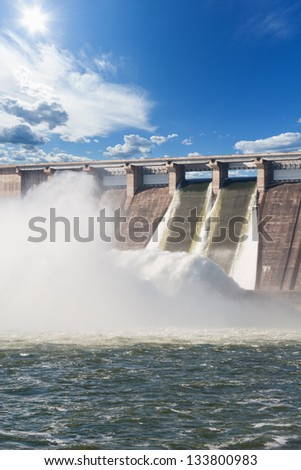 Water plums on hydroelectric power station