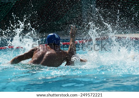 Water Polo. Beach water polo. Outdoor sports. Ball games. The struggle in the water. Swimming. Active lifestyle. Athletic men. Swimming Pool. Sport. Sports on the sea. Strong men.