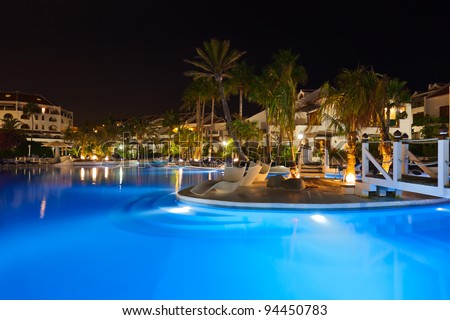 Water pool at night - vacation background