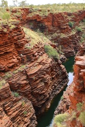 Water pooled in deep gorge surrounded by banded iron oxide vertical cliffs