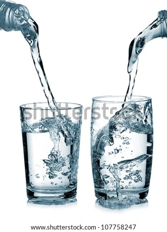 Water pouring in two glasses