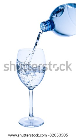 water pouring into glass on white background