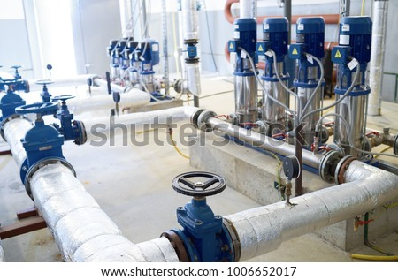 water pumping station. Valve faucet and pumps