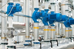 Water pumps from boilers in an industrial greenhouses