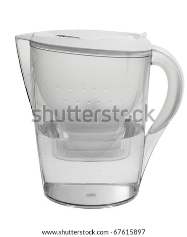 Water purification filter plastic jug using activated carbon filtering mechanism, single plastic transparent household object isolated on white background, vertical orientation, nobody.