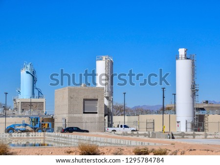 Water Reclamation Plant treats 12 million gallons of wastewater daily from nearby homes, businesses and industries.El Paso, Texas25 January 2019 #1295784784