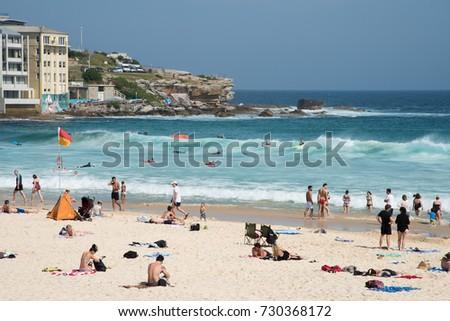 Water recreation with crowds at Bondi Beach in Sydney, Australia/Bondi Surf Recreation/SYDNEY,NSW,AUSTRALIA-NOVEMBER 21,2016: Water recreation and crowds at Bondi Beach in Sydney, Australia