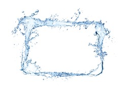 Water rectangle splash isolated on white background. Abstract closeup shape with free space for text.