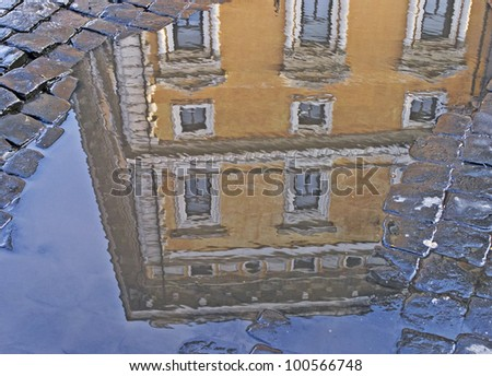 Water reflection of an ancient and luxury building in downtown Rome, Lazio, Italy - stock photo