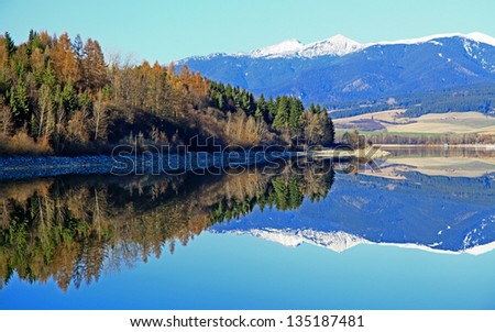 Water reflection on dam Liptovska Mara, Slovakia