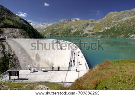 Water Reservoir of Kolnbrein Dam, Carinthia, Austria Stock photo ©