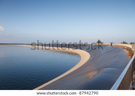 Water Reservoir with plastic liner - stock photo