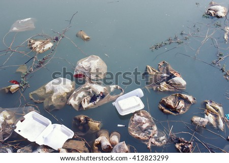 water resources that is polluted with various garbage and trash, Polluted rivers,