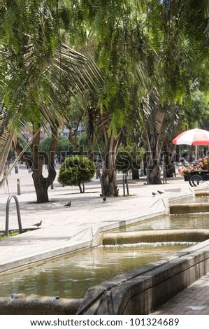 water running canals  Avenue Avenida Jimenez Parque Park of the Periodistas writers  Candelaria Bogota Colombia South America