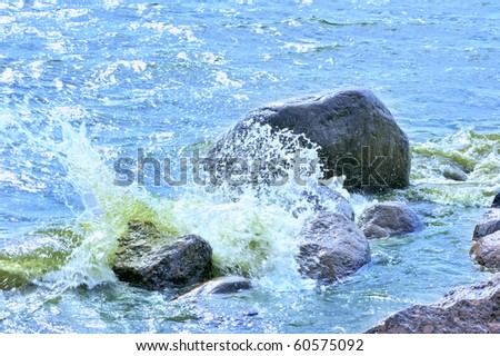 Water rushing by a rock