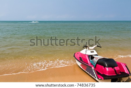 Water scooters on the beach
