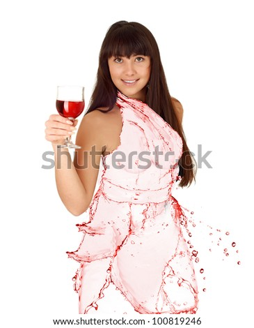 water shaped girl created from wine splash isolated in white