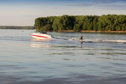 water skiing, surfing, boat, waves, landscape