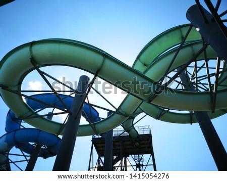 Water slides construction shot from below #1415054276