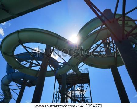 Water slides construction shot from below #1415054279