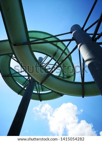 Water slides construction shot from below #1415054282