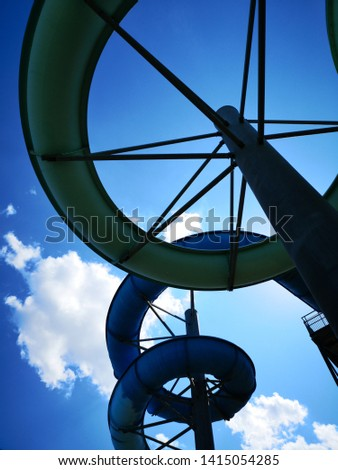 Water slides construction shot from below #1415054285