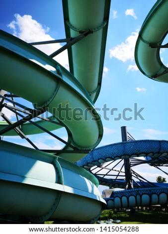 Water slides construction shot from below #1415054288