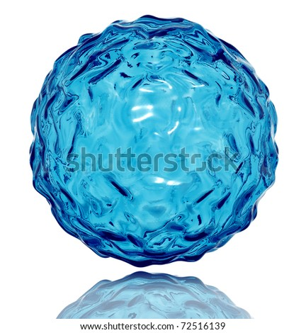 Water sphere with wavy surface. Life symbol. 3d