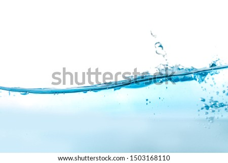 Water splash and air bubbles isolated over white background. Blue water wave abstract background isolated on white