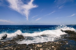 water splash and blue ocean and rocky shore