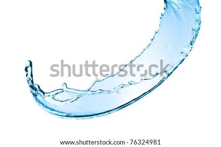 water splash close up isolated on white background